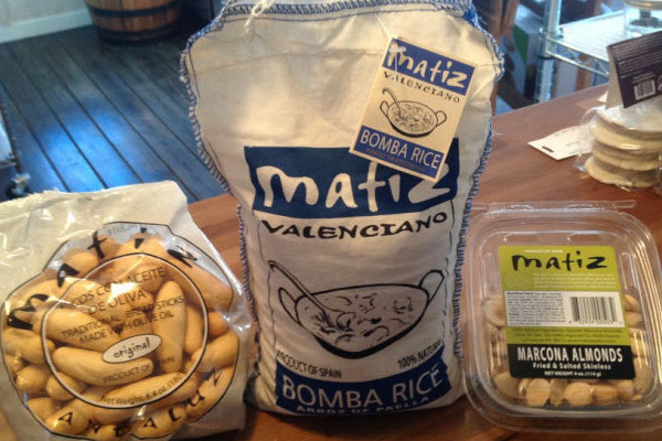 Matiz Picos, Bomba Rice, and Marcona Almonds