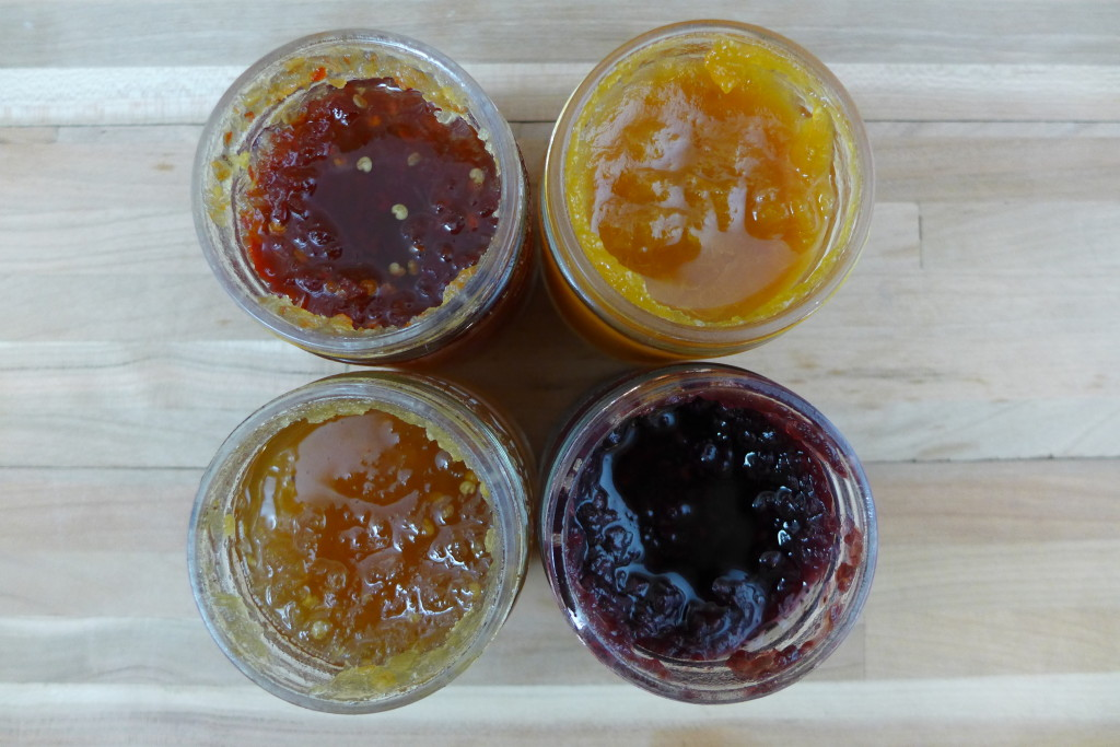INNA jam, Clockwise from Top Left: Fresno Chili, Apricot, Tayberry, & Hungarian Pepper