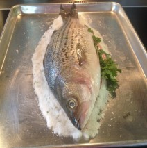 Salt Crusted Striped Sea Bass